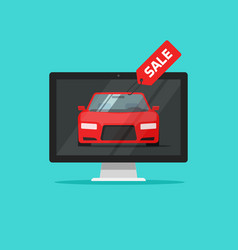 car with sale badge in computer monitor vector image