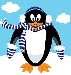 Cartoon penguin winter gear vector