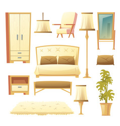 cartoon set of bedroom - interior set vector image