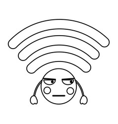 Cartoon wifi internet signal kawaii character vector