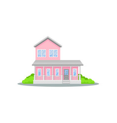 charming two-storey pink house with terrace small vector image