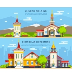 Church Flat Banners vector