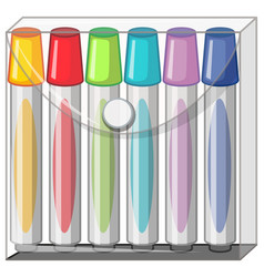 Color markers in plastic bag vector