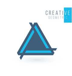 Creative blue trinity futuristic triple triangle vector