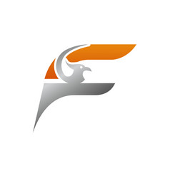 creative initial letter f with eagle bird logo vector image