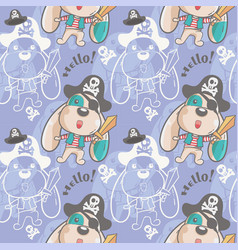cute dog little pirate seamless pattern vector image