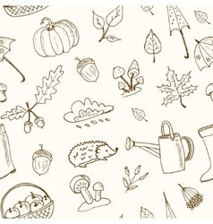 cute hand drawn autumn seamless pattern vector image