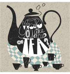 Decorative teapot and cups vector