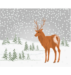 deer in winter landscape with falling snow vector image