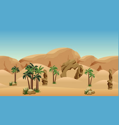 desert landscape background scene for cartoon vector image