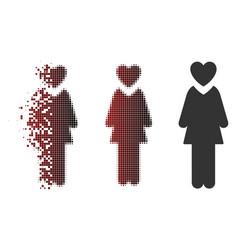 Disintegrating pixel halftone mistress icon vector