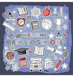 Doodle school set vector