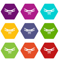 drone video camera icon set color hexahedron vector image