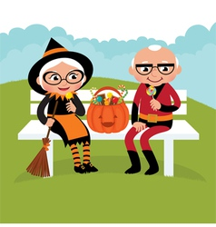 Elderly couple celebrating Halloween vector