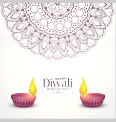 Elegant white diwali background with two diya vector