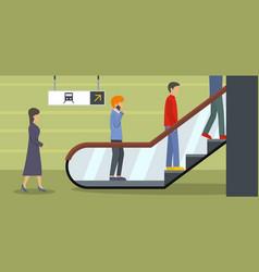 Escalator banner horizontal flat style vector