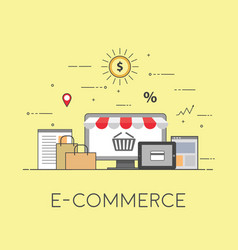 flat design banner of e-commerce for website and vector image