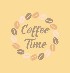 flat icon on background bean coffee time logo vector image