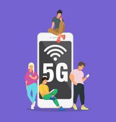 Flat people with gadgets sitting on big 5g vector