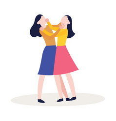 Flat two girls fighting punching each other vector