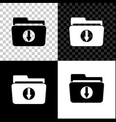 folder download icon isolated on black white and vector image