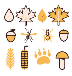Forest life line icons vector