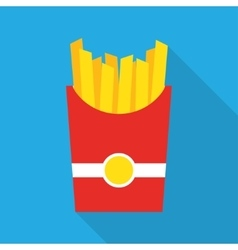 French fries fast food in a red package vector image