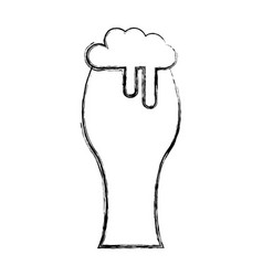 Fresh beer in glass isolated icon vector