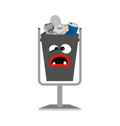 garbage can with metal trash vector image