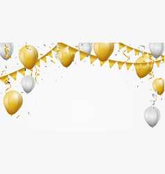 Gold and white balloon with confetti vector