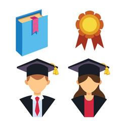 Graduation man and woman silhouette uniform avatar vector