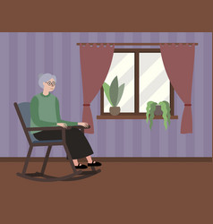 grandmother sits window in a rocking chair vector image