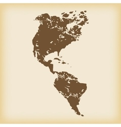 Grungy american continents icon vector image
