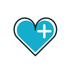 heart medical icon line fill vector image