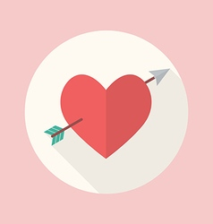 Heart with cupid arrow flat icon vector