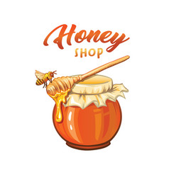 Honey shop flat banner template vector