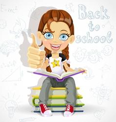 Joyful schoolgirl reading a book vector