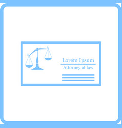 Lawyer business card icon vector