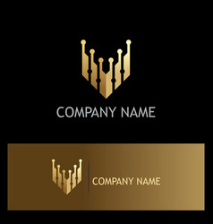 letter v technology gold logo vector image