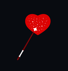 magic wand with romantic heart shape vector image