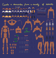 Man characters set for animation parts of body vector