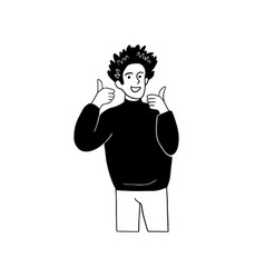 Man with gesture of thumbs up human emotion sign vector
