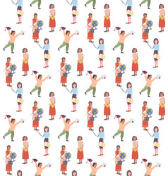 mix race women teachers graduate girl student vector image