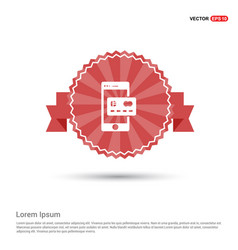 mobile and credit card icon - red ribbon banner vector image