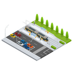 modern tramway on the stop and cars on the road vector image