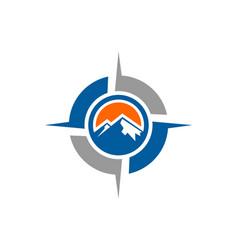 Mountains abstract compass logo icon vector