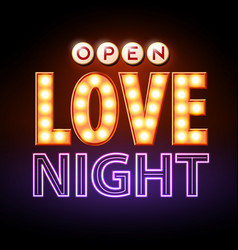 Neon sign love night happy valentines day vector