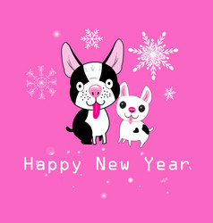 new year card funny dogs vector image