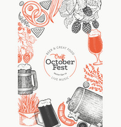 octoberfest design template hand drawn greeting vector image