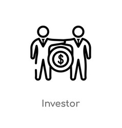 Outline investor icon isolated black simple line vector